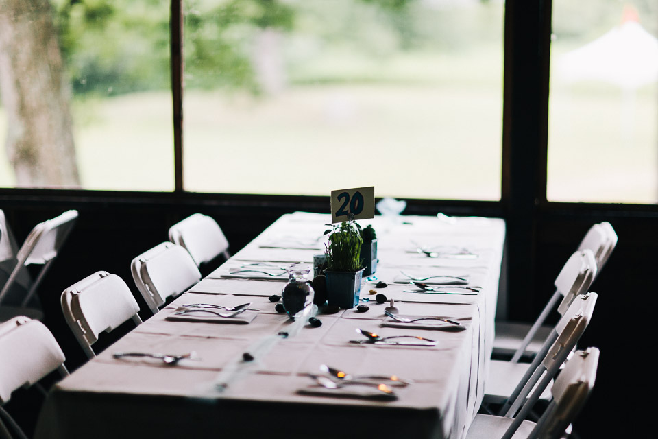 A table set up for the wedding (chairs were rented) (photo by Timothy Brandt)