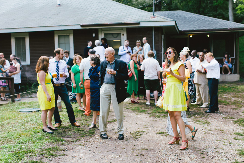 guests start arriving and gather outside the lodge. (photo by Timothy Brandt)