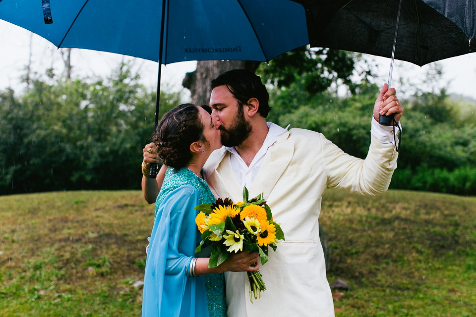 It started raining just as the ceremony started, but that didn't deter anyone!
