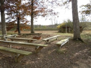 Benches around the fire pit on Hippo Hill